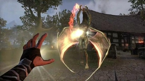 Screen with Mage casting spell in Fantasy First-Person MMO Game