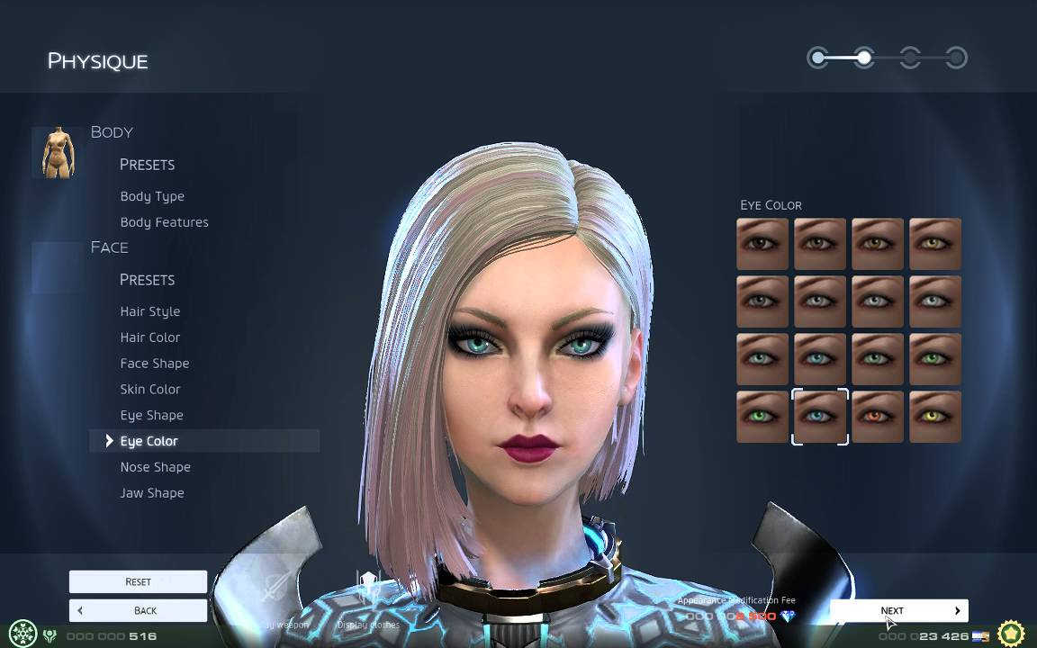 Screen for MMO Games with Character Customization List