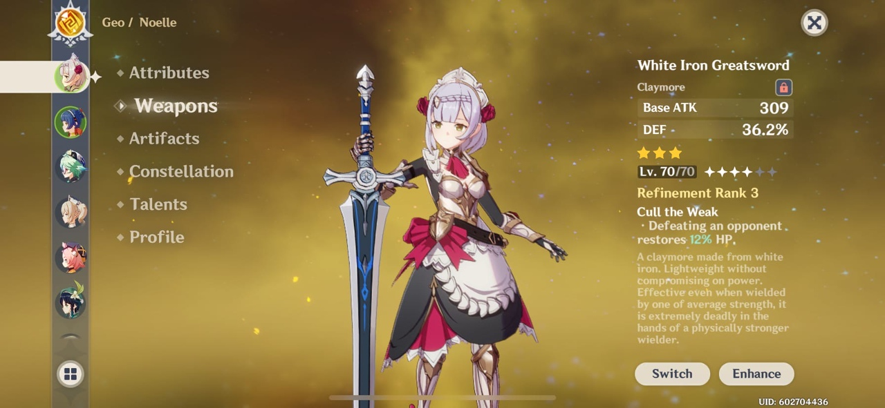 Genshin Impact Noelle Character Guide Support Weapons White Iron Great Sword