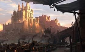 Fantasy City Art for MMORPG with Player Driven Economy Category