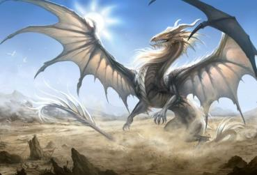 Art with White Dragon for MMORPG with Dragons Category