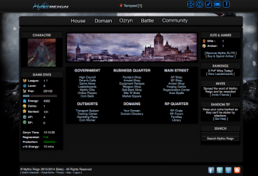 Ingame Screen for the Text Based MMORPG Category